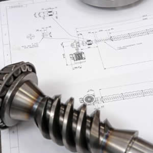 worm screw and technical drawing